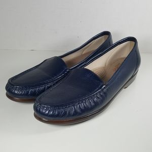 SAS Navy Leather Slip On Flats Loafers  Size:11.5